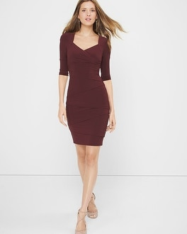 Three Quarter-Sleeve Instantly Slimming Dress