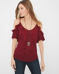 Ruffle-Detail Cold-Shoulder Blouse