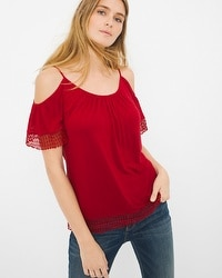 Lace-detail Cold-Shoulder Top