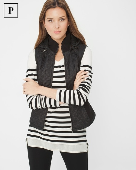 Petite Quilted Vest with Hood