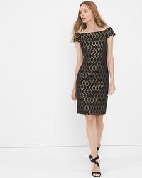 Off-The-Shoulder Black Jacquard Shift Dress