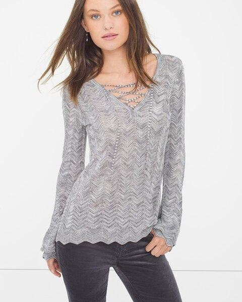 af1a54cbff8893 Return to thumbnail image selection Lace-Up Sweater video preview image,  click to start video