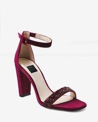 Velvet Chunky Heels