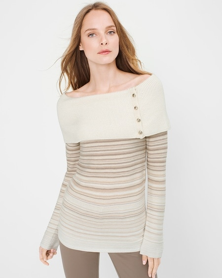 Off-The-Shoulder Degrade Sweater
