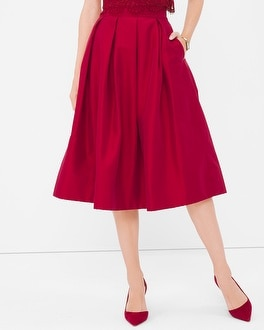 Pleated Taffeta Midi Skirt