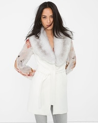 Faux Fur-Collar Wrap Vest