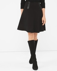 Black Faux Leather-Trim Skirt