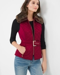 Removable Faux-Fur Collar Quilted Vest