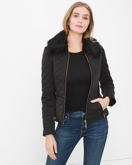 Faux-Fur Collar Quilted Puffer Jacket