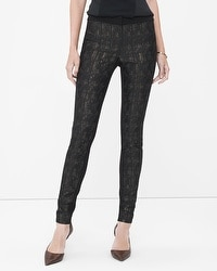 Ponte-Jacquard Mixed Skinny Pants