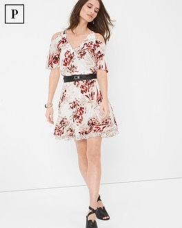 Petite Printed Cold Shoulder Dress