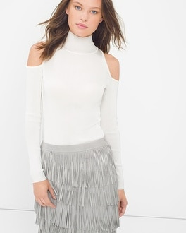 Cold-Shoulder Mock Neck Sweater