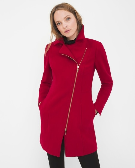 Asymmetrical Zip-Front Coat