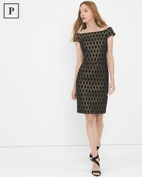 Petite Off-The-Shoulder Black Jacquard Shift Dress