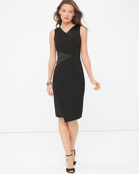 Satin-Blocked Black Sheath Dress