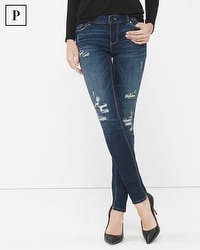 Petite Destructed Sequin Skinny Jeans