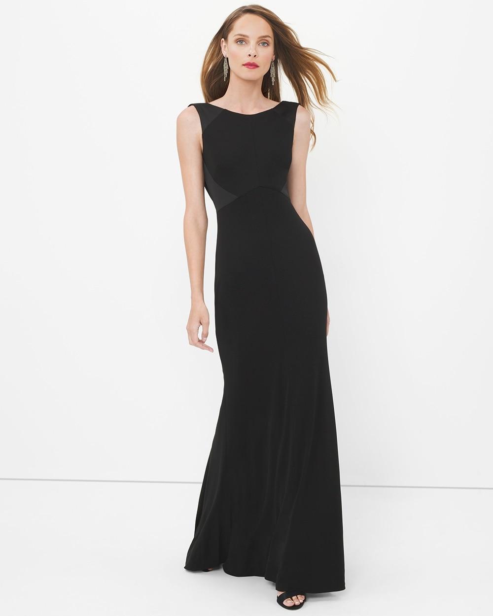 Black Drape Back Gown - White House Black Market