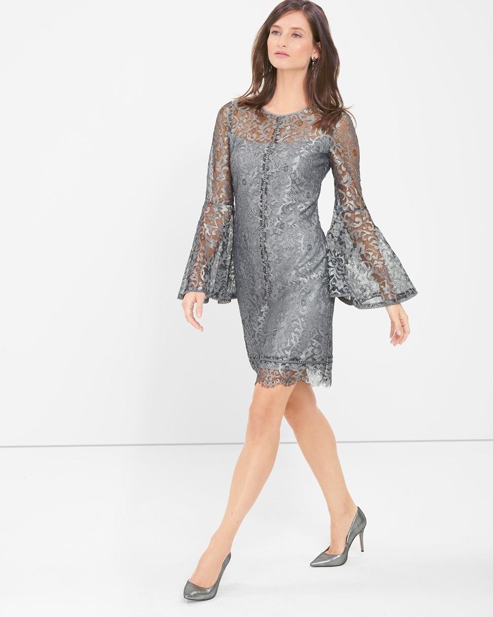 Black Lace Bell Sleeve Dress