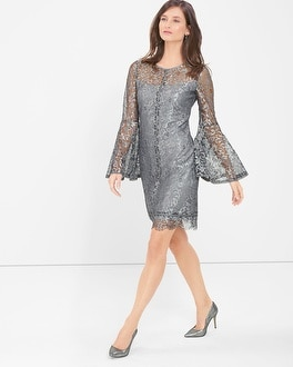 Metallic Lace Bell-Sleeve Shift Dress
