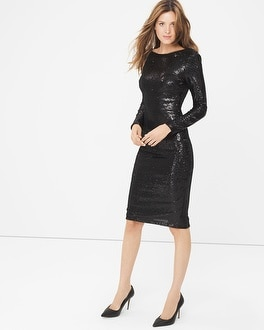 Long Sleeve Black Sequin Sheath Dress