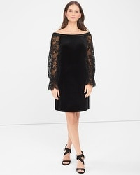 Off-the-Shoulder Lace Sleeve Black Velvet Shift Dress