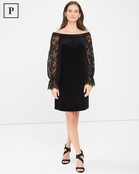 Petite Off-The-Shoulder Lace Sleeve Black Velvet Shift Dress