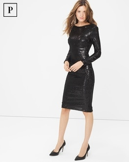 Petite Long Sleeve Black Sequin Sheath Dress