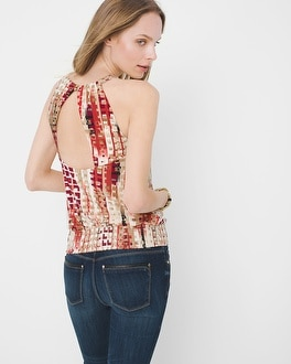 Geometric-Print Halter Top