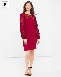 Petite Pleated Lace Sleeve Shift Dress