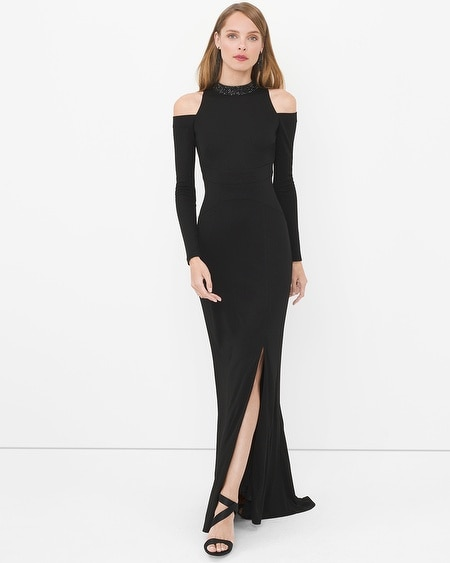 Cold Shoulder Embellished Mock Neck Black Gown