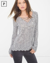 Petite Lace-Up Sweater