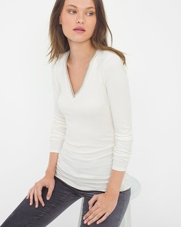 Long-Sleeve Chain-Trim Top