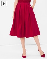 Petite Pleated Taffeta Midi Skirt
