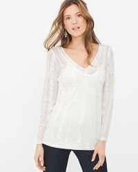 Layered Embroidered Mesh Top