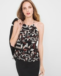 Geo-Print Tiered Halter Top