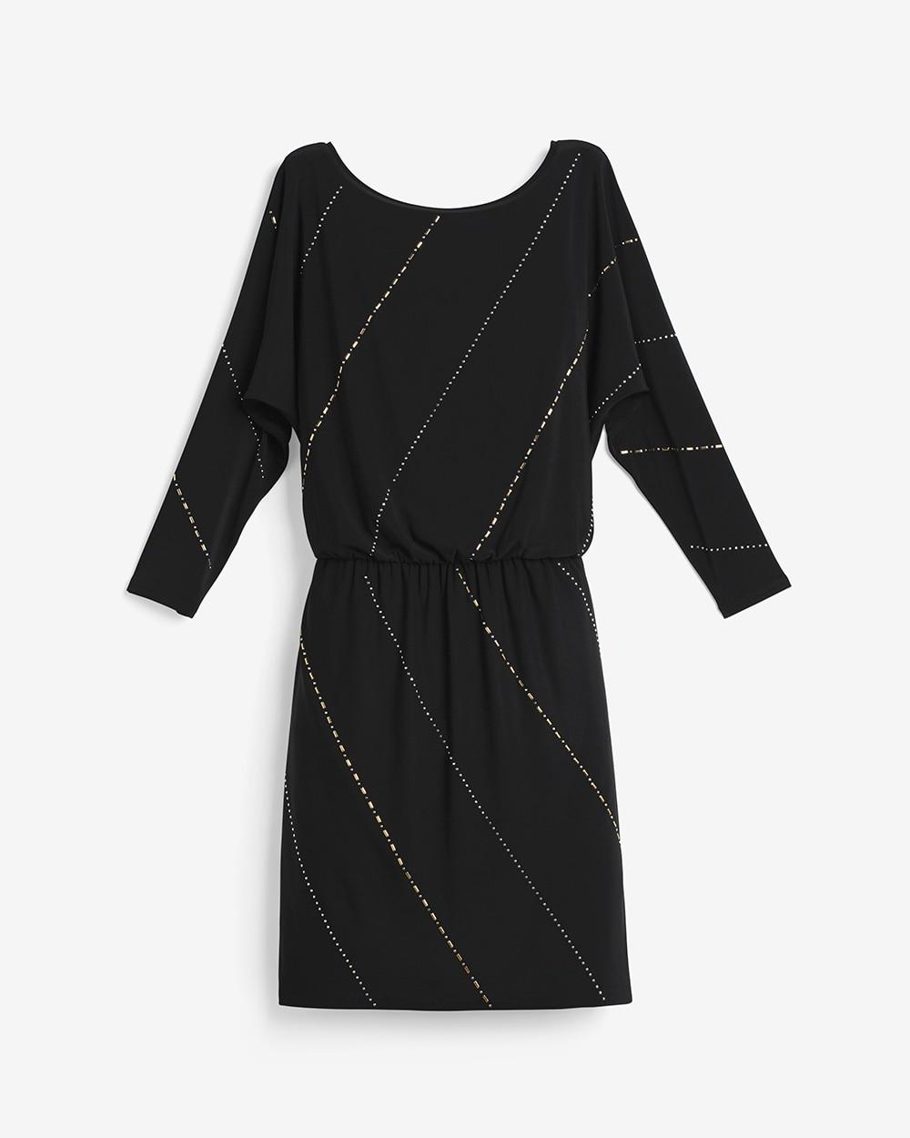 Black Embellished Blouson Dress