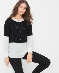 Cable-Sequin Sweater Twofer