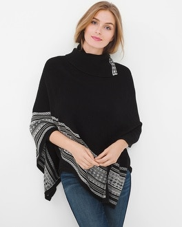 Border Poncho Sweater