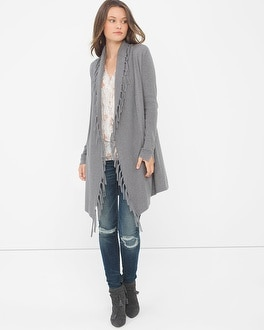 Fringe-Trim Sweater Coverup