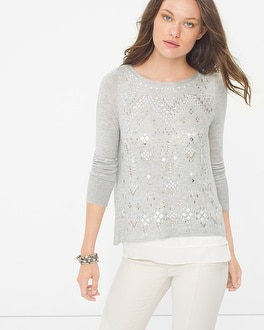 Embellished Split-Back Sweater