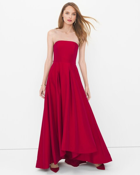 e0336f43e8e7 Return to thumbnail image selection Strapless High-Low Taffeta Gown video  preview image, click to start video