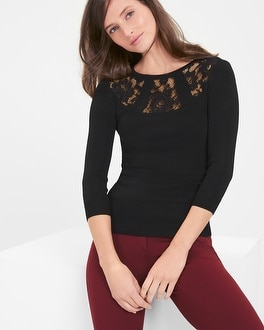 Lace-Yoke Pullover Sweater