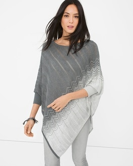 Zigzag-Detail Sweater Poncho