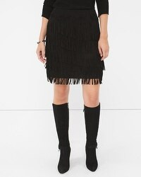 Black Fringe Suede Skirt