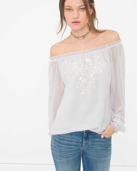 61980da5e0e4da Return to thumbnail image selection Embroidered Off-The-Shoulder Blouse  video preview image