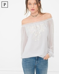 Petite Embroidered Off-The-Shoulder Blouse