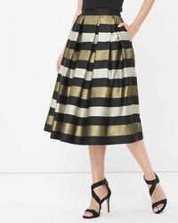 Stripe Pleated Taffeta Midi Skirt