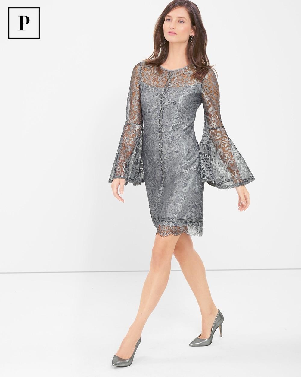 e285ead4fa Return to thumbnail image selection Petite Metallic Lace Bell-Sleeve Shift  Dress video preview image