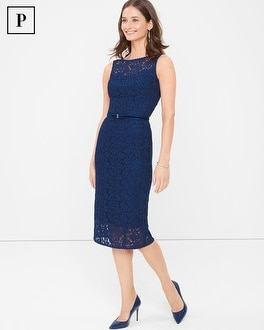Petite Sleeveless Lace Sheath Dress