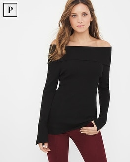 Petite Off-The-Shoulder Slit Sleeve Sweater